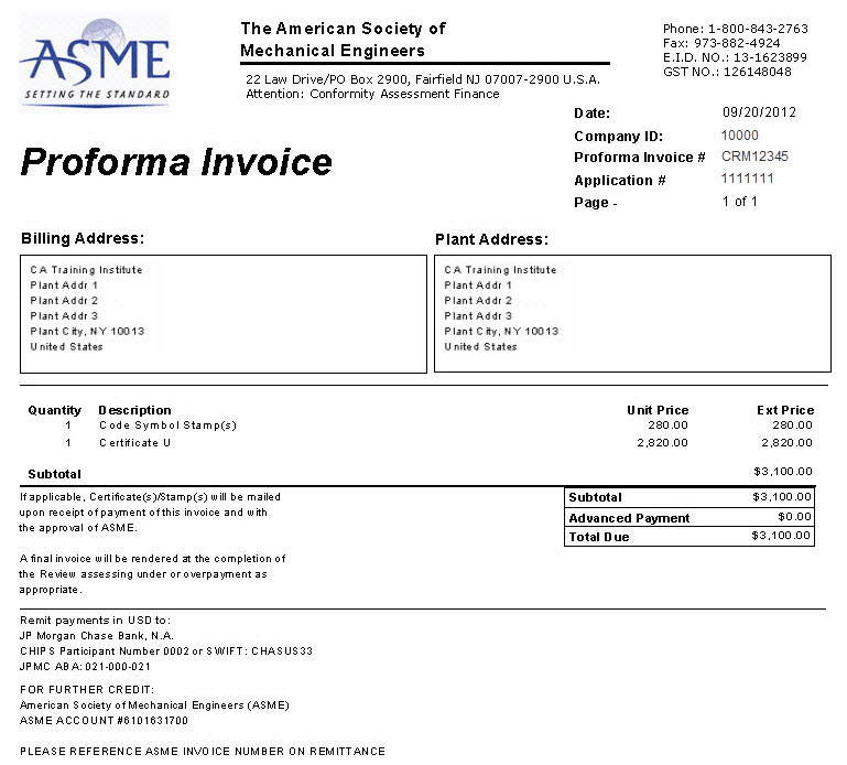 ProForma Invoice New Application For NonBoiler Program